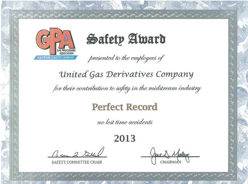 GPA 2013 Perfect Record No Lost Time incidents
